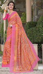Orange & Pink Color Georgette Office Wear Sarees : Parindra Collection  YF-50094