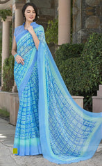 Firozi & Blue Color Georgette Office Wear Sarees : Parindra Collection  YF-50095