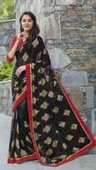 Black & Red Color Georgette Kitty Party Sarees : Anurupika Collection  YF-47830
