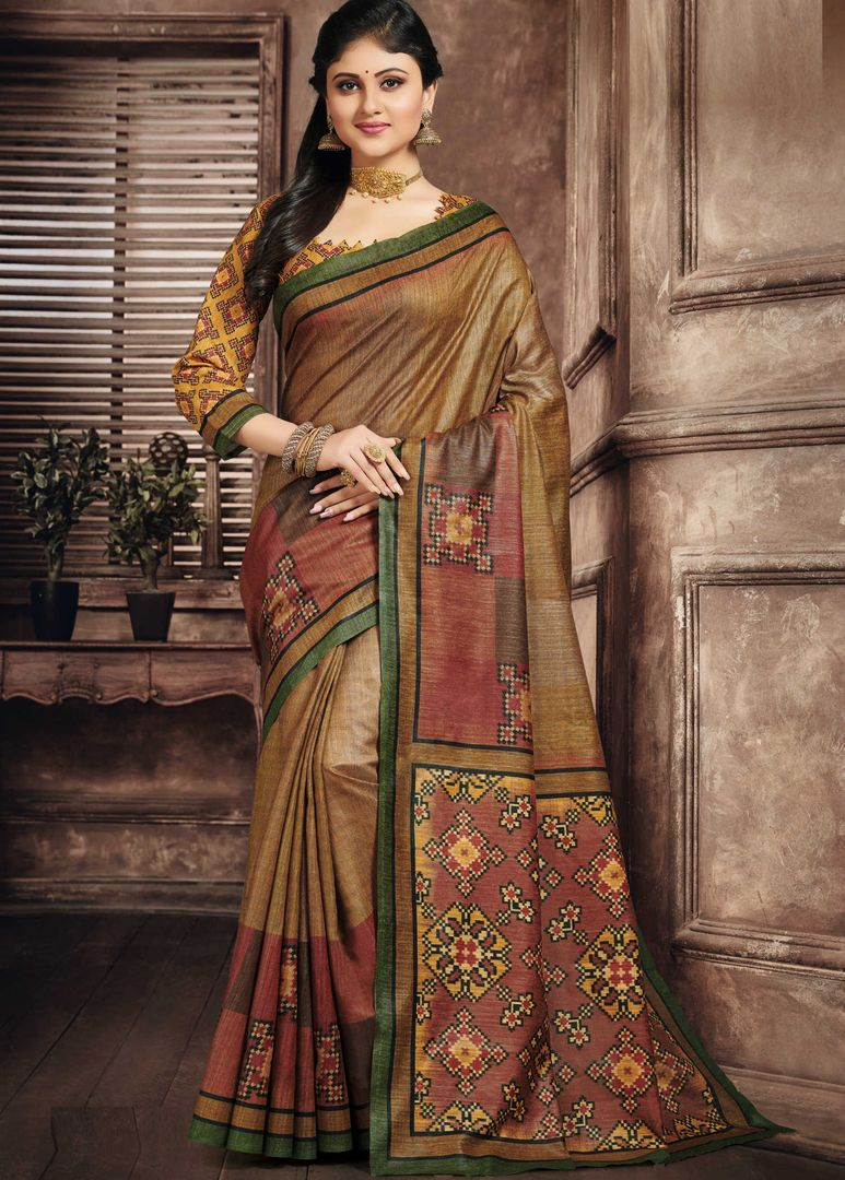 Shades Of Yellow & Brown Color Art Silk Office Wear Sarees NYF-3799 - YellowFashion.in