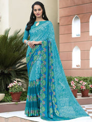 Firozi Color Crepe Kitty Party Sarees : Atriksha Collection  YF-49482