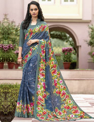 Blue Color Crepe Kitty Party Sarees : Atriksha Collection  YF-49484