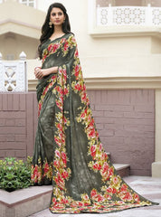 Mehendi Green Color Crepe Kitty Party Sarees : Atriksha Collection  YF-49485