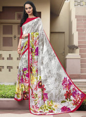 Cream & Red Color Crepe Kitty Party Sarees : Atriksha Collection  YF-49486
