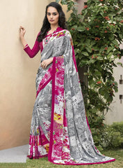 Grey & Pink Color Crepe Kitty Party Sarees : Atriksha Collection  YF-49488