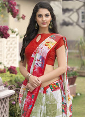 Pastel Green & Red Color Crepe Kitty Party Sarees : Atriksha Collection  YF-49489