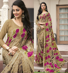 Light Brown Color Crepe Kitty Party Sarees : Atriksha Collection  YF-49491