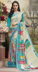 Firozi & Pink Color Crepe Kitty Party Sarees : Atriksha Collection  YF-49497