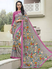 Multi Color Crepe Kitty Party Sarees : Atriksha Collection  YF-49498