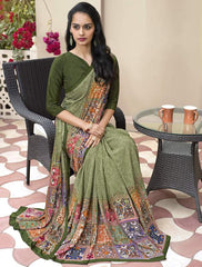 Green Color Crepe Kitty Party Sarees : Atriksha Collection  YF-49501