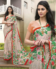 Light Peach Color Crepe Kitty Party Sarees : Atriksha Collection  YF-49502