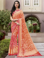 Orange & Pink Color Crepe Kitty Party Sarees : Atriksha Collection  YF-49504