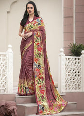 Burgandy Color Crepe Kitty Party Sarees : Atriksha Collection  YF-49505