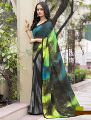 Grey & Black Color Georgette Office Wear Sarees : Parindra Collection  YF-50097