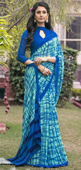 Sea Green & Blue Color Georgette  Office Wear Sarees : Parindra Collection  YF-50102
