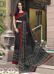Black Color Georgette Office Wear Sarees : Parindra Collection  YF-50105