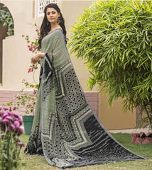 Light Mehendi Green & Black Color Georgette Office Wear Sarees : Parindra Collection  YF-50107