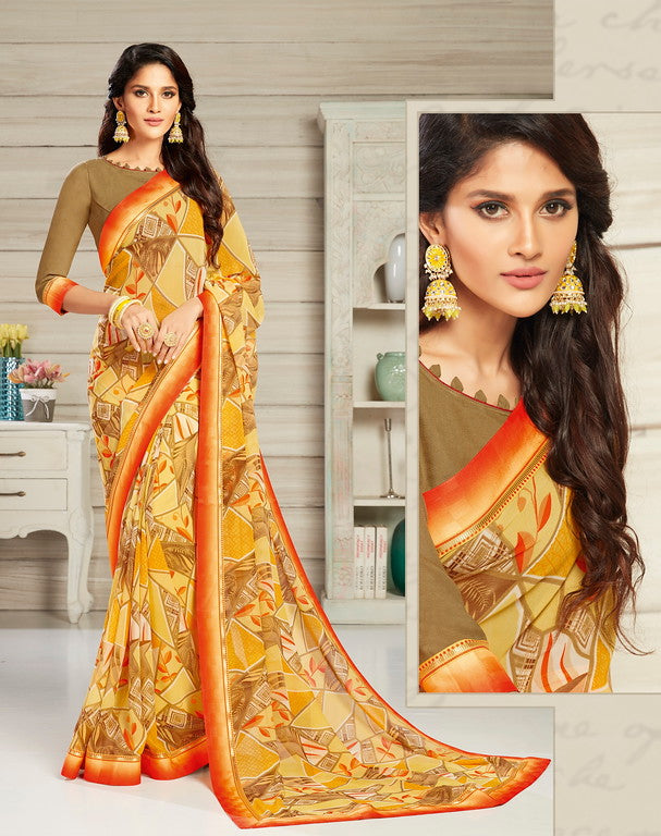 Yellow Color Georgette Casual Wear Saree-  Jahaana Collection  YF#10557