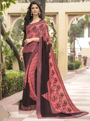 Pink & Brown Color Georgette Office Wear Sarees : Parindra Collection  YF-50110