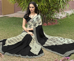 Cream & Black Color Georgette Office Wear Sarees : Parindra Collection  YF-50111