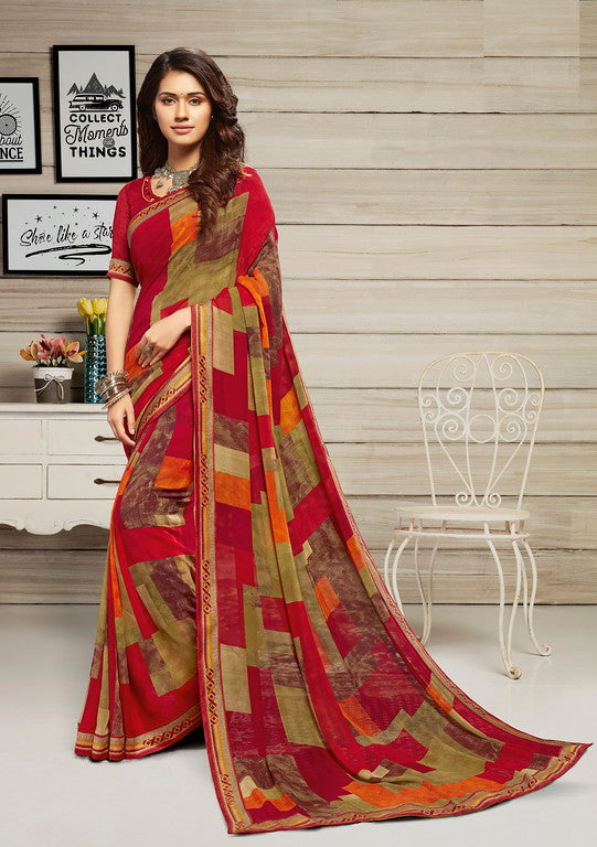 Red and Green Color Georgette Casual Wear Saree-  Jahaana Collection  YF#10558