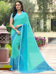 Sea Green & Aqua Blue Color Georgette Office Wear Sarees : Parindra Collection  YF-50112