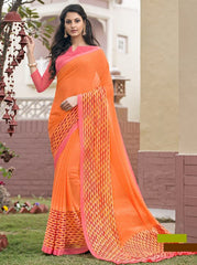 Orange Color Georgette Office Wear Sarees : Parindra Collection  YF-50113