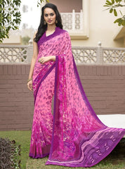 Pink Color Georgette Office Wear Sarees : Parindra Collection  YF-50114
