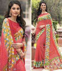 Peach Color Georgette Office Wear Sarees : Parindra Collection  YF-50116