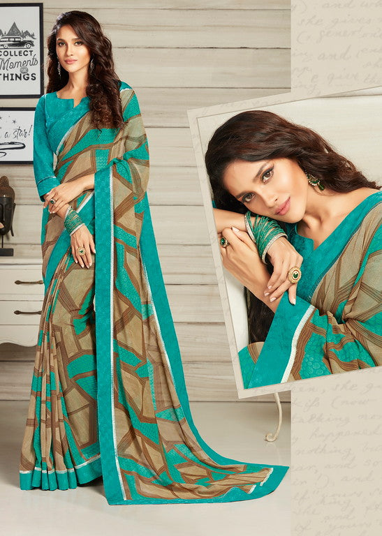 Brown and Blue Color Georgette Casual Wear Saree-  Jahaana Collection  YF#10561