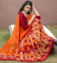 Orange Color Georgette Office Wear Sarees : Parindra Collection  YF-50120
