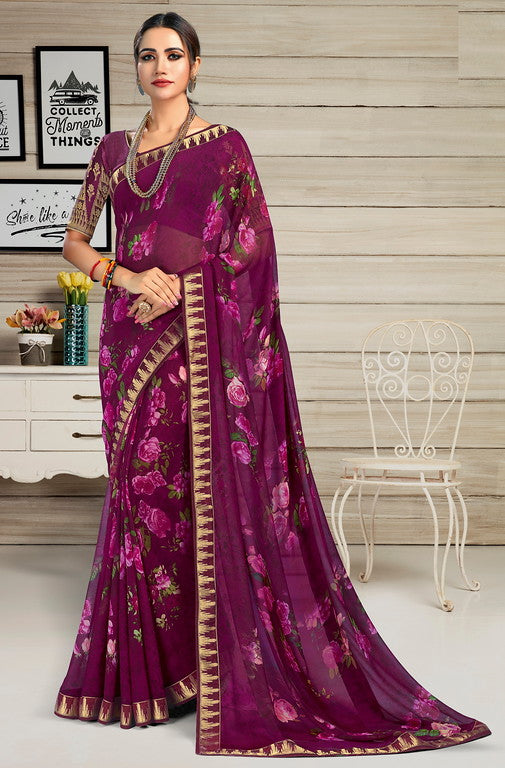 Purple Color Georgette Casual Wear Saree-  Jahaana Collection  YF#10565
