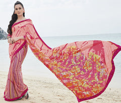 Pink Color Georgette Casual Party Sarees : Samiha Collection  YF-50849