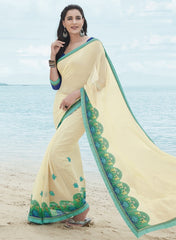 Cream Color Georgette Casual Party Sarees : Samiha Collection  YF-50850