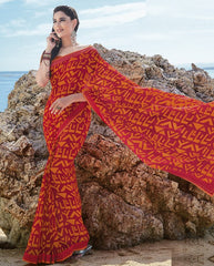 Red & Orange Color Georgette Casual Party Sarees : Samiha Collection  YF-50851