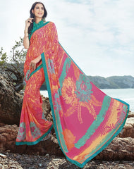 Pink Color Georgette Casual Party Sarees : Samiha Collection  YF-50853