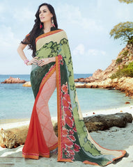 Green & Pink Color Georgette Casual Party Sarees : Samiha Collection  YF-50854