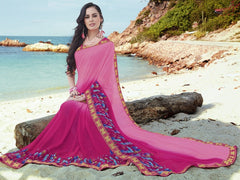 Pink Color Georgette Casual Party Sarees : Samiha Collection  YF-50855