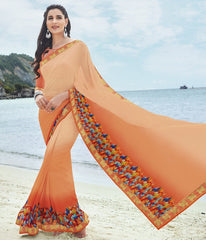Light & Dark Orange Color Georgette Casual Party Sarees : Samiha Collection  YF-50856