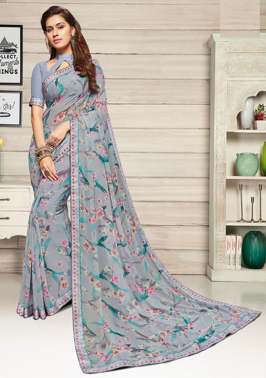 Greyish Blue Color Georgette Casual Wear Saree-  Jahaana Collection  YF#10574