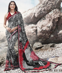 Black Color Georgette Casual Party Sarees : Samiha Collection  YF-50857