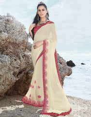 Cream & Pink Color Georgette Casual Party Sarees : Samiha Collection  YF-50858