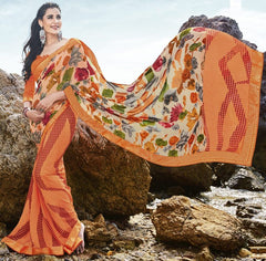 Orange Color Georgette Casual Party Sarees : Samiha Collection  YF-50859