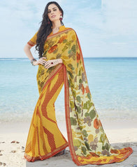 Yellow Color Georgette Casual Party Sarees : Samiha Collection  YF-50860