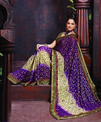 Purple And CreamColorTissue Jacquard And ViscousDesigner Sarees : Kanish Collection YF-24137