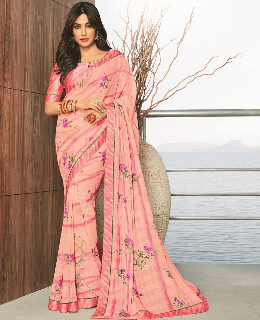 Pink Color Chiffon Printed Party Wear Sarees NYF-5172