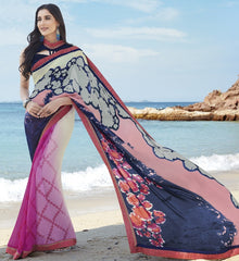 Blue & Pink Color Georgette Casual Party Sarees : Samiha Collection  YF-50862