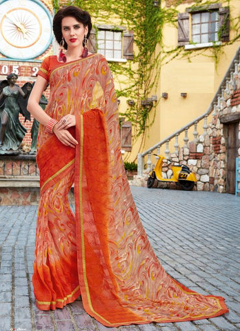 Orange Color Georgette Party Wear Sarees : Adiva Collection  YF-55976