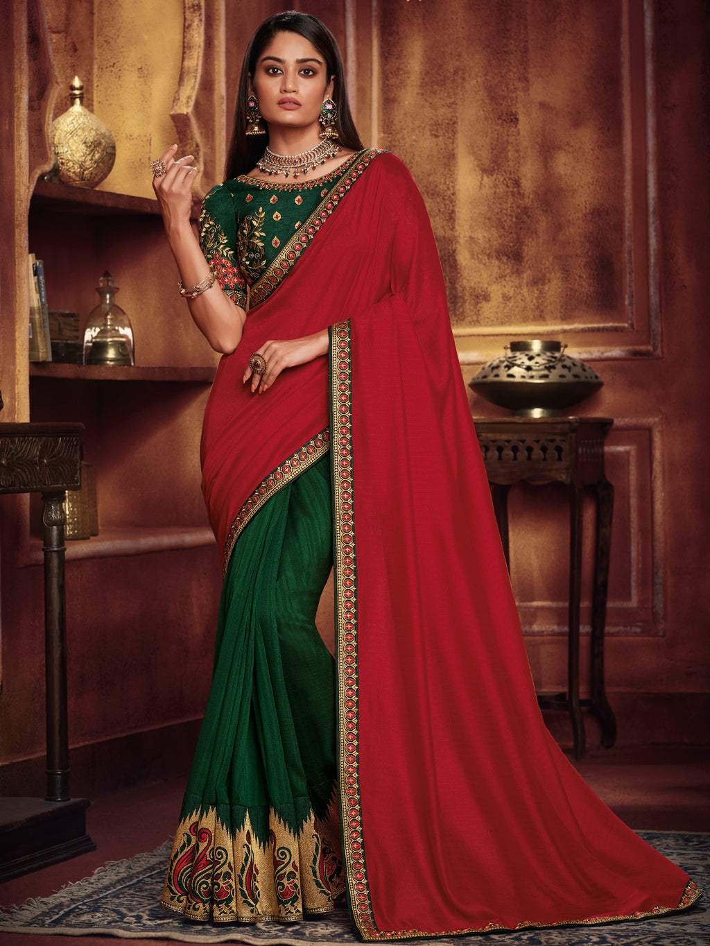 Red & Green Color Two Tone Silk Gorgeous Festive Sarees NYF-5572