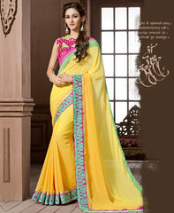 Yellow Color Georgette Festival & Function Wear Sarees : Snehakshi Collection  YF-45635